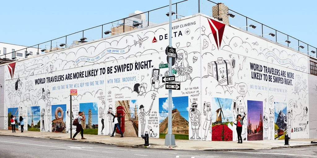 Image of Delta Dating Wall in June 2017 in New York